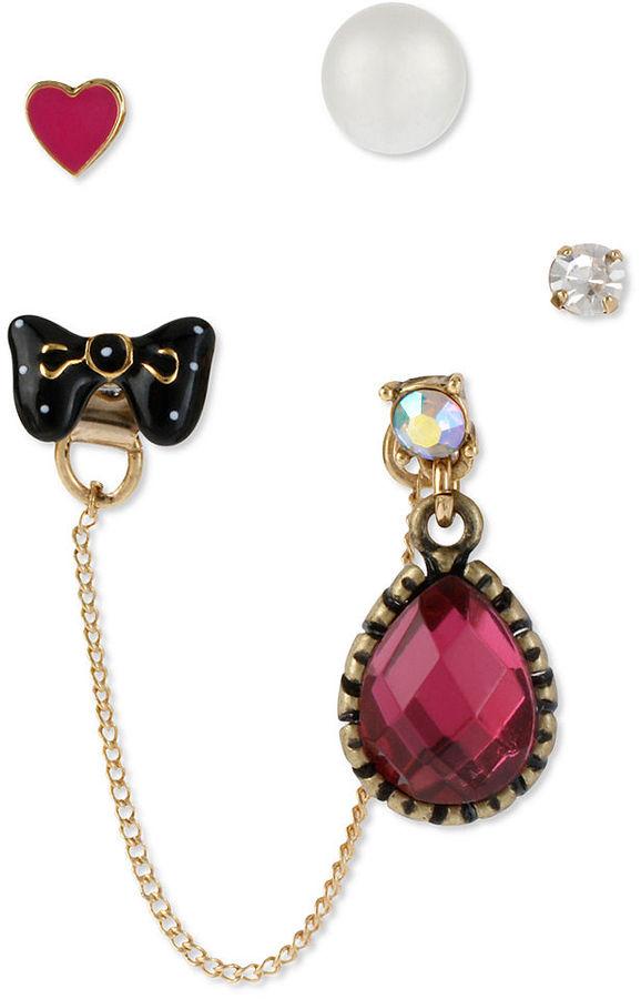 Betsey Johnson Earrings Set, Gold-Tone Glass Accent Five-Charm Stud Earrings Set