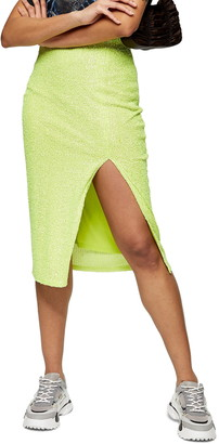 Topshop Neon Sequin Pencil Skirt