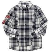 F&F Embroidered Frill Checked Shirt, Girl's