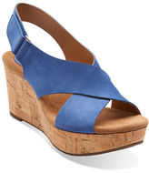 Clarks Caslynn Shae Leather Open-Toe Wedge Sandals