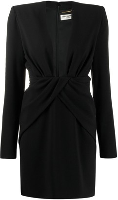 Saint Laurent Ruched Plunge Bodycon Dress