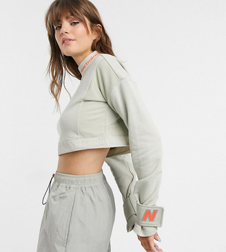 New Balance Utility Pack cropped logo sweatshirt in beige exclusive at ASOS