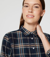 LOFT Petite Shimmer Plaid Tunic Softened Shirt