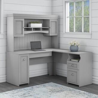 Three Posts Niles L-Shape Executive Desk with Hutch Color: Cape Cod Gray