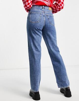 Monki Taiki organic cotton straight leg jeans in thrift blue
