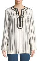 Tory Burch Tory Striped Embroidered-Trim Tunic
