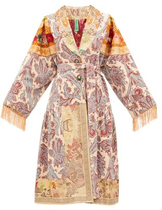 RIANNA + NINA Vintage Patchwork Embroidered-velvet Robe Coat - Black Multi