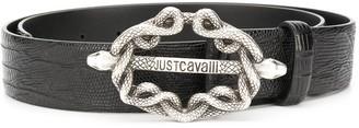 Just Cavalli Logo Snake Buckle Belt