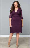Kiyonna Plus Size Plum Scalloped Lace Boudoir Dress