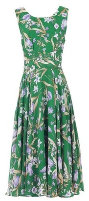 Dorothy Perkins Womens Jolie Moi Green Floral Print Chiffon Midi Dress, Green