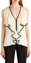 Jason Wu Sleeveless Tipped Cloque Top, Cream