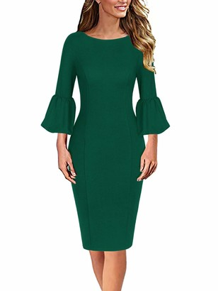 Moyabo Ladies Dresses for Church Womens Elegant Ruffle Bell Sleeve Business Cocktail Party Bodycon Pencil Dress Navy Blue Small