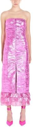 ATTICO Strapless Ruffle Detail Midi Dress