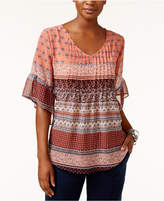 Style&Co. Style & Co Petite Mixed-Print Pintucked Blouse, Only at Macy's