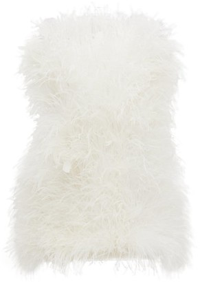 ATTICO Strapless Ostrich-feather Strapless Mini Dress - White