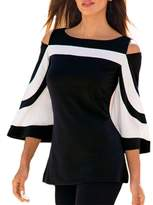 MuCoo Women's Color Block Bell Sleeve Cold Open Shoulder Top Blouse Shirt XL