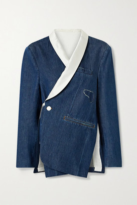 MM6 MAISON MARGIELA Grosgrain And Satin-trimmed Distressed Denim Wrap Blazer - Mid denim
