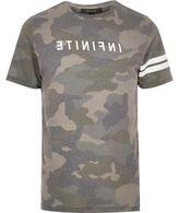 River Island MensKhaki Infinite camo T-shirt