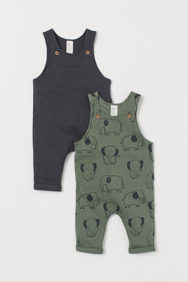 H&M 2-pack Cotton Overalls - Green