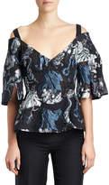 Erdem Karla Embroidered Cold-Shoulder Top, Black