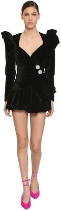 ATTICO The Ruffled Cotton Velvet Mini Wrap Dress