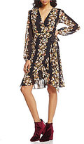 WAYF Only You V-Neck Long Sleeve Wrap Dress
