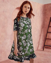 Ted Baker Floral print frill hem dress