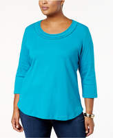Karen Scott Plus Size Cotton Lattice-Trim Top, Created for Macy's