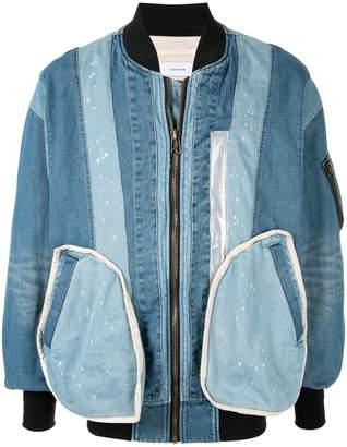 Facetasm denim patchwork bomber jacket