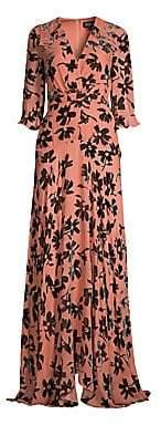 Saloni Women's Edith Burnout Velvet Maxi Dress