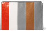 Balenciaga Bazar Striped Textured-leather Pouch - Gray