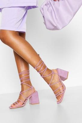boohoo Wide Fit Strappy Block Heels