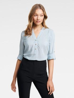 Forever New Daniela Stripe Button Shirt - Teal Stripe - 4