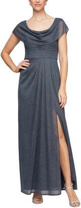 Alex Evenings Glitter Cowl Neck A-Line Gown