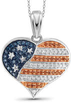Fine Jewelry 1/4 CT. T.W. White and Color-Enhanced Blue and Red Diamond Flag Heart Pendant