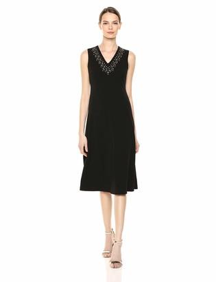 Calvin Klein Women's Sleeveless Midi with Embellished Neck Dress