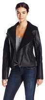 Madden-Girl Women's Faux Shearling Moto Jacket