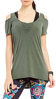 Nanette Lepore Play Active Smocked Cold Shoulder Top