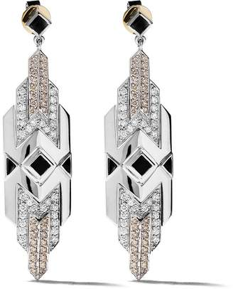Fairfax & Roberts 18kt white gold Art Deco diamond and onyx drop earrings
