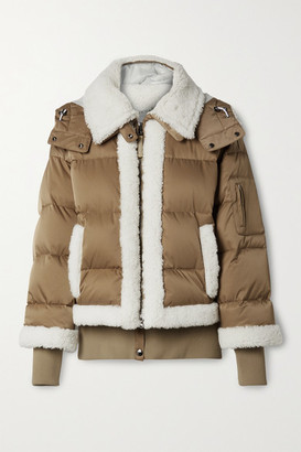 Bogner Suza Layered Hooded Shearling-trimmed Quilted Down Ski Jacket - Brown