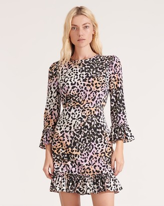 Veronica Beard Tamar Watercolor Leopard Dress