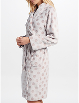 John Lewis Spot Embossed Fleece Dressing Gown, Taupe