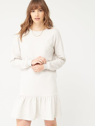 Very Long Sleeve Peplum Hem Sweat Dress - Stone