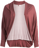 Glam Burgundy & White Shawl-Collar Round-Hem Open Cardigan - Plus