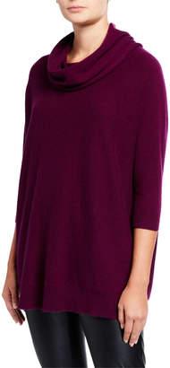 Neiman Marcus Cowl-Neck 3/4-Sleeve Cashmere Sweater