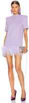ATTICO Short Sleeve Feather Trim Mini Dress in Lilac | FWRD