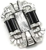 Kenneth Jay Lane Rhodium and Crystal Black Deco Pin