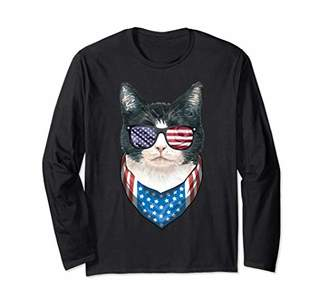 Fourth of July Cat American Flag July 4th Kitten Patriotic Long Sleeve T-Shirt