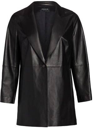 Lafayette 148 New York, Plus Size Kourt Peak-Lapel Leather Jacket