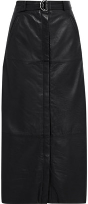 Walter Baker Layla Belted Leather Maxi Skirt